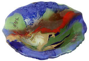A beautifully contemporary art glass bowl featuring Blue, green, metallic gold and red coloring, scalloped edges