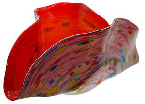 A multi-color hand blown glass 20in bowl in a clam shell design.  Red interior and a colorful exterior
