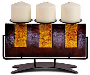 Fused art glass triple candle holder featuring purple and gold, with a metal stand