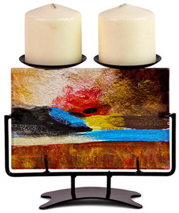 "8"" Rectangular fused glass double candleholder featuring artfully mixed gold, blue, red, black and white.  Horizon collection"