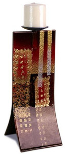 14in Brown, Red and Black Candle Holder with metallic gold accents 20479