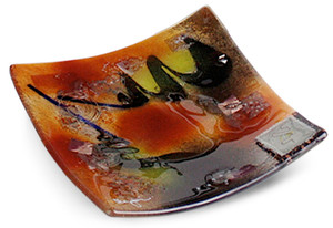 """6"""" square fused glass plate from our Whirlwind series, featuring red, black and yellow and several separately fused pieces for texture"""