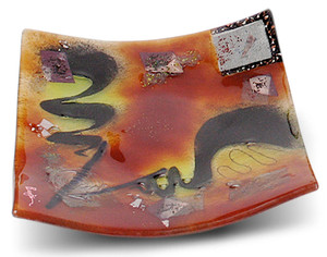 """8"""" square fused glass plate from our Whirlwind series, featuring red, black and yellow and several separately fused pieces for texture"""