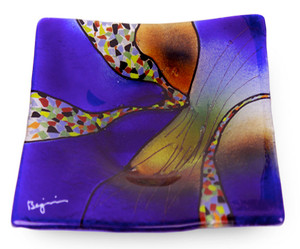 "10"" Square fused glass plate in vibrant blue, with some orange and other details.  Sky Bridge series"