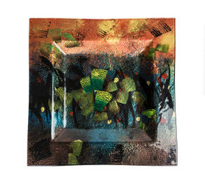 14in Sq Plate Hand Painted | Fused Glass S13013B