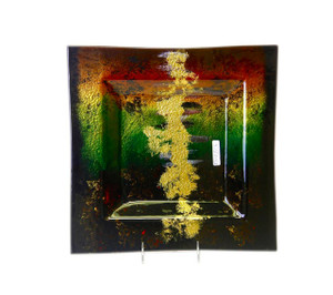 14in Sq Plate Hand Painted |Fused Glass S13013D