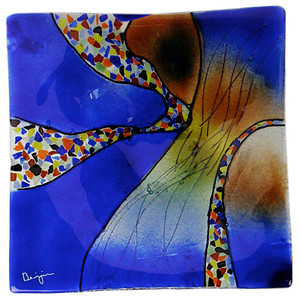 Fused Glass Platter featuring our Sky Bridge theme in brilliant blue and other multiple colors