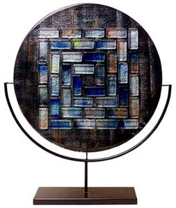18 inch Round, flat profile, glass platter, with fused glass tiles in a pattern.  Black, blue white, and multiple colors