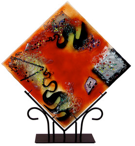 "From our Whirlwind Collection, this 15"" square platter features red, yellow and black, on a decoratively designed metal stand."