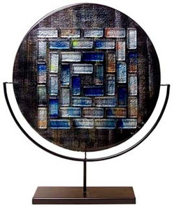 22 inch Round, flat profile, glass platter, with fused glass tiles in a pattern.  Black, blue white, and multiple colors