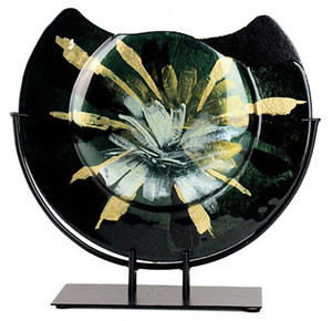 A round fused glass vase in black, with bold white and yellow gold blooms issuing from the center. Full Bloom series