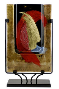 18 inch rectangular fused glass platter featuring gold and black, with hand painted red and gold, broad brush strokes