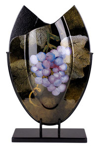 Oval Vase 21in, featuring grapes and leaves 20452