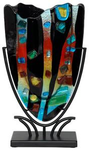 Small Fused Glass V Vase 61072