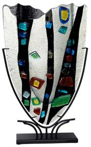 Large Fused Glass V Vase 61073