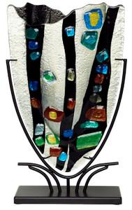 Medium Fused Glass V Vase 61074