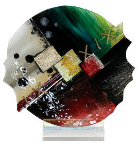 "11.5"" x 12"" Round Sculpture Abstract with Acrylic Stand (70151)"