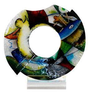 """14.5"""" x 15"""" Round Sculpture Lines in Motion with Acrylic Stand (70152)"""