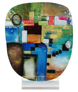 "11"" x 14.5"" Oval Sculpture Geometric Abstract with Acrylic Stand (70158)"