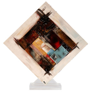 "16.5"" x 17.5"" Square Sculpture Red Reflections with Acrylic Stand (70161)"