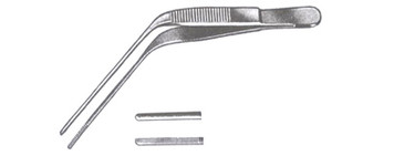 WILDE Ear Forceps, Angular, With Serrated Tips, (12.7cm), 5""