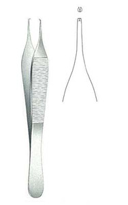 Tissue, Forcep, ADSON 1x2 teeth 12cm with tying Platforp, 4 3/4""