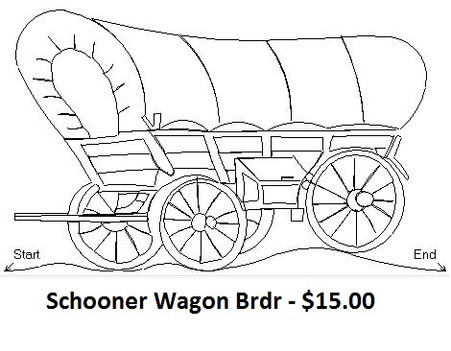 Schooner Wagon digital quilt pattern actual width is 7.48 inches and actual height is 4.43 inches.  Both qli or iqp formats are downloaded with the product.
