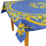 Provence Coated Cotton Tablecloths - Lemon Blue