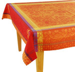 Jacquard Weave French Tablecloth - Cotignac Orange