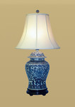 Porcelain Blue/White Birds Floral Lamp