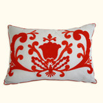 Dena Home Dakota Red Embroidered Decorative Pillow - Oblong