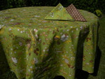 Le Cluny Provencal Coated Cotton Tablecloths - Versailles Green
