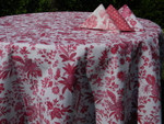 Le Cluny Provencal Coated Cotton Tablecloths - Versailles Red/White