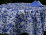 Le Cluny Provencal Coated Cotton Tablecloths - Versailles Blue/White