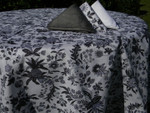 Le Cluny Provencal Coated Cotton Tablecloths - Versailles Black/White