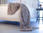 Lili Alessandra Ribbon Throw Blanket - Silver