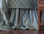 Lili Alessandra Chloe Ice Blue Velvet Gathered Bedskirt