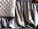 Lili Alessandra Chloe Fawn Velvet Gathered Bedskirt