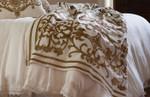 Lili Alessandra Louie Throw - White Linen/Straw Velvet