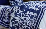 Lili Alessandra Louie Throw - Navy Linen/White Linen