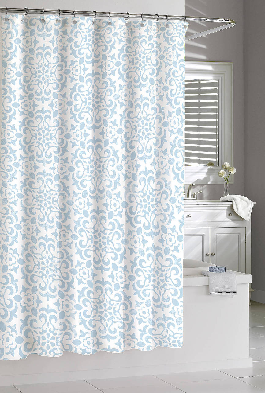 Kassatex Sea Wave Shower Curtain Spa Blue