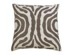 Lili Alessandra Zebra Square Pillow - Ivory Velvet / Pewter Beads