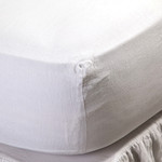 Pom Pom at Home Linen Fitted Sheet - White
