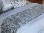 Lili Alessandra Mozart Throw - White Linen with Ice Silver Velvet Applique