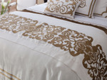 Lili Alessandra Mozart Throw - White Linen with Straw Velvet Applique