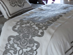 Lili Alessandra Mozart Throw - White Linen with Silver Velvet Applique