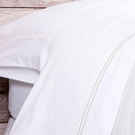 Pom Pom at Home Cotton Sateen Sheet Set - White/Taupe
