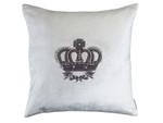 Lili Alessandra Imperial Crown Square Pillow - Ivory Velvet / Silver Zardozi