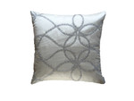 Lili Alessandra Whimsical Square Pillow - Ivory Silk / Clear Glass Crystals