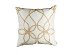 Lili Alessandra Whimsical Square Pillow - Ivory Silk / Gold Crystals
